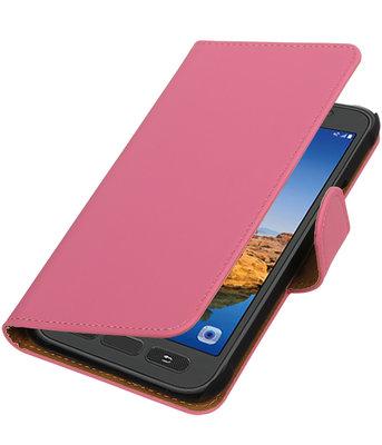 Roze Effen booktype wallet cover voor Hoesje voor Samsung Galaxy S7 Active