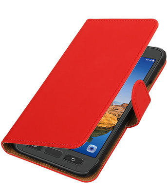Rood Effen booktype wallet cover voor Hoesje voor Samsung Galaxy S7 Active