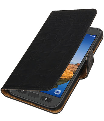 Zwart Krokodil booktype wallet cover voor Hoesje voor Samsung Galaxy S7 Active