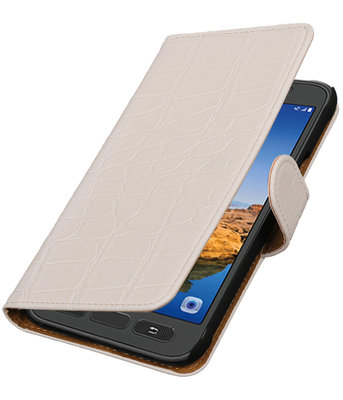 Wit Krokodil booktype wallet cover voor Hoesje voor Samsung Galaxy S7 Active
