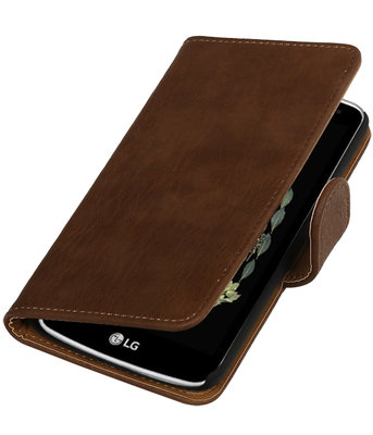 Bruin Hout booktype wallet cover voor Hoesje voor LG K5