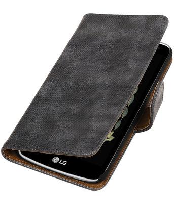Grijs Mini Slang booktype wallet cover voor Hoesje voor LG K5