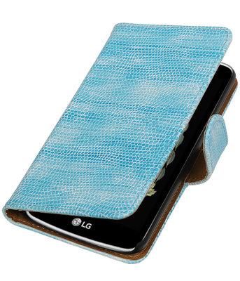 Turquoise Mini Slang booktype wallet cover voor Hoesje voor LG K5