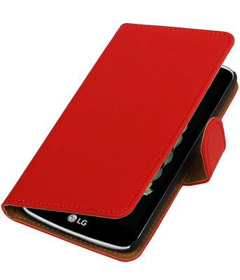 Rood Effen booktype wallet cover voor Hoesje voor LG K5