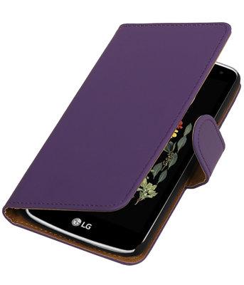 Paars Effen booktype wallet cover voor Hoesje voor LG K5