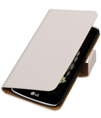 Wit Effen booktype wallet cover voor Hoesje voor LG K5