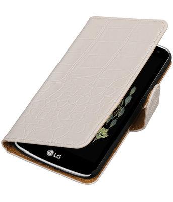 Wit Krokodil booktype wallet cover voor Hoesje voor LG K5