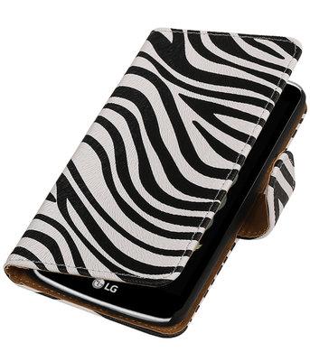 Zebra booktype wallet cover voor Hoesje voor LG K5