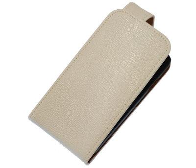 Wit Ribbel Classic flip case cover voor Hoesje voor Apple iPhone 4 / 4s