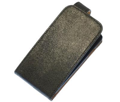 Zwart Ribbel Classic flip case cover hoesje voor Sony Xperia E