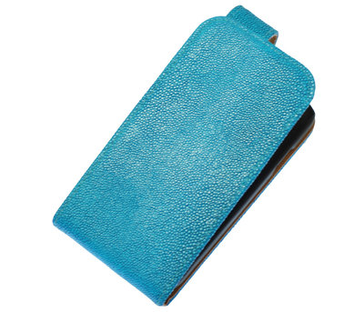Blauw Ribbel Classic flip case cover hoesje voor Sony Xperia E