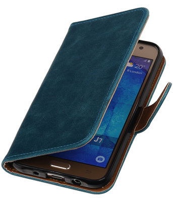 Blauw Pull-Up PU booktype wallet cover hoesje voor Samsung Galaxy J7 2016