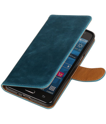 Blauw Pull-Up PU booktype wallet hoesje voor Samsung Galaxy Grand Prime G530
