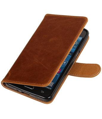 Bruin Pull-Up PU booktype wallet voor Hoesje voor Samsung Galaxy Grand Prime G530