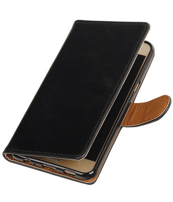 Zwart Pull-Up PU booktype wallet hoesje voor Samsung Galaxy C5