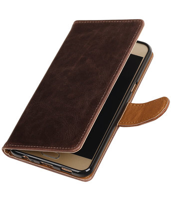 Mocca Pull-Up PU booktype wallet hoesje voor Samsung Galaxy C5