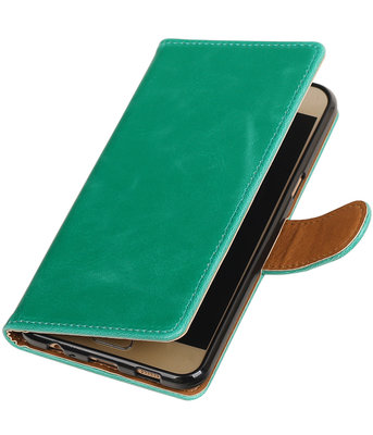Groen Pull-Up PU booktype wallet hoesje voor Samsung Galaxy C5