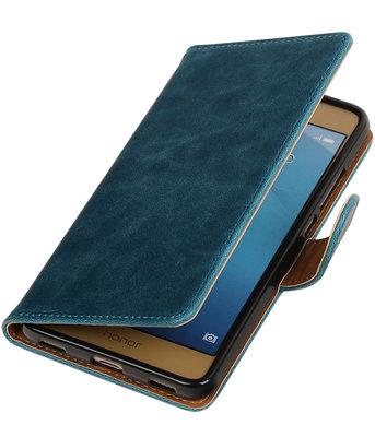 Blauw Pull-Up PU booktype wallet voor Hoesje voor Huawei Honor 5c