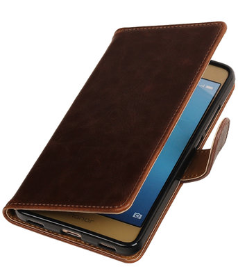 Mocca Pull-Up PU booktype wallet hoesje voor Huawei Honor 5c