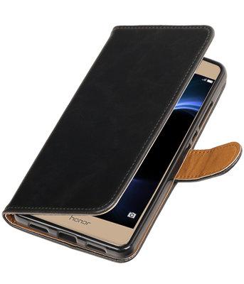 Zwart Pull-Up PU booktype wallet voor Hoesje voor Huawei Honor V8