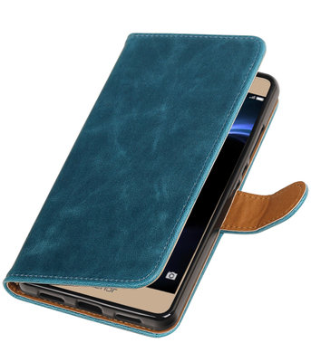Blauw Pull-Up PU booktype wallet hoesje voor Huawei Honor V8