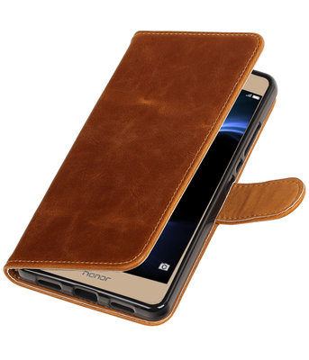 Bruin Pull-Up PU booktype wallet hoesje voor Huawei Honor V8