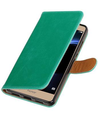 Groen Pull-Up PU booktype wallet voor Hoesje voor Huawei Honor V8