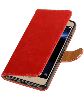 Rood Pull-Up PU booktype wallet hoesje voor Huawei Honor V8