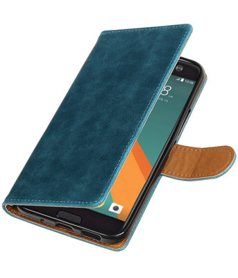 Blauw Pull-Up PU booktype wallet voor Hoesje voor HTC 10