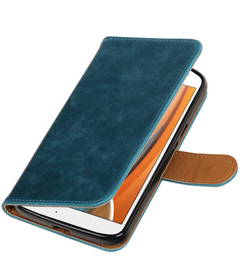 Blauw Pull-Up PU booktype wallet voor Hoesje voor Motorola Moto G4 / G4 Plus