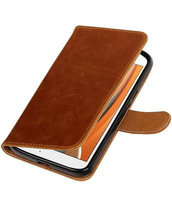 Bruin Pull-Up PU booktype wallet voor Hoesje voor Motorola Moto G4 / G4 Plus