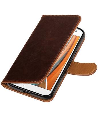 Mocca Pull-Up PU booktype wallet voor Hoesje voor Motorola Moto G4 / G4 Plus