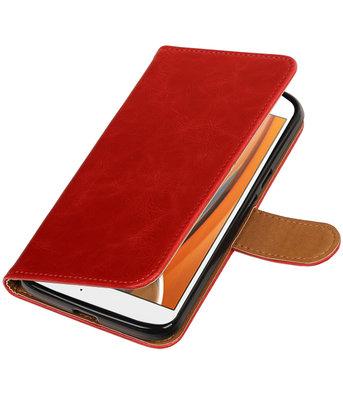 Rood Pull-Up PU booktype wallet voor Hoesje voor Motorola Moto G4 / G4 Plus