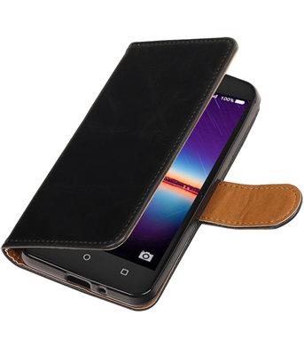 Zwart Pull-Up PU booktype wallet voor Hoesje voor Huawei Y3 II