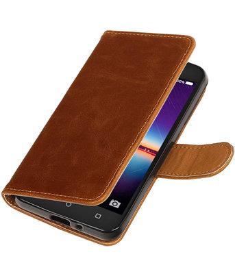 Bruin Pull-Up PU booktype wallet voor Hoesje voor Huawei Y3 II