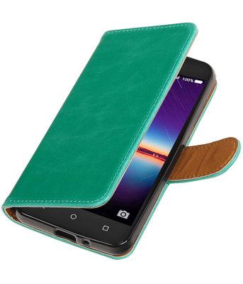 Groen Pull-Up PU booktype wallet voor Hoesje voor Huawei Y3 II