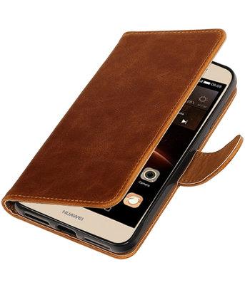 Bruin Pull-Up PU booktype wallet voor Hoesje voor Huawei Y6 II Compact