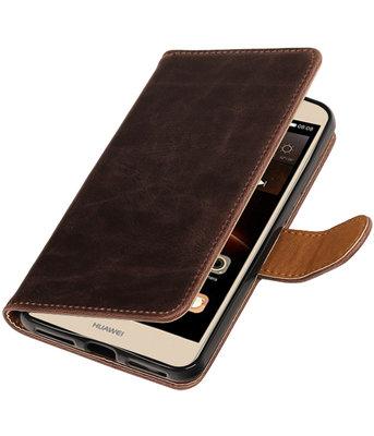 Mocca Pull-Up PU booktype wallet voor Hoesje voor Huawei Y6 II Compact