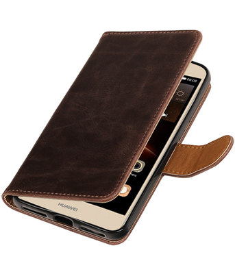 Mocca Pull-Up PU booktype wallet hoesje voor Huawei Y6 II Compact