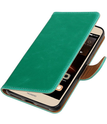 Groen Pull-Up PU booktype wallet voor Hoesje voor Huawei Y6 II Compact