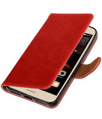 Rood Pull-Up PU booktype wallet voor Hoesje voor Huawei Y6 II Compact