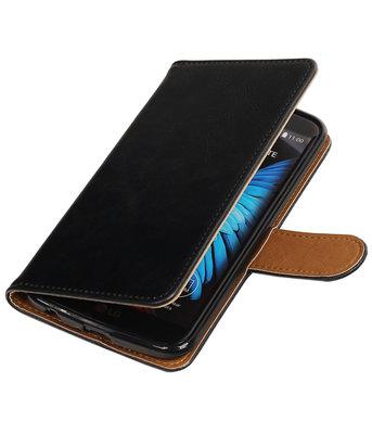 Zwart Pull-Up PU booktype wallet voor Hoesje voor LG K10