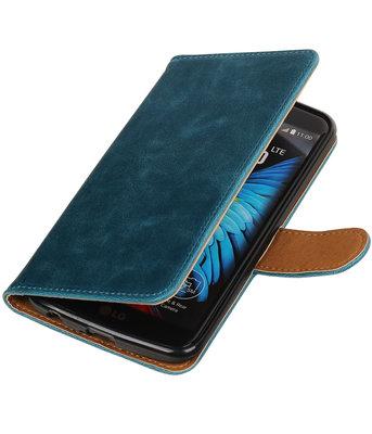 Blauw Pull-Up PU booktype wallet voor Hoesje voor LG K10