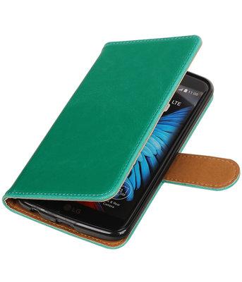 Groen Pull-Up PU booktype wallet voor Hoesje voor LG K10