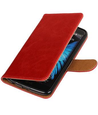 Rood Pull-Up PU booktype wallet voor Hoesje voor LG K10
