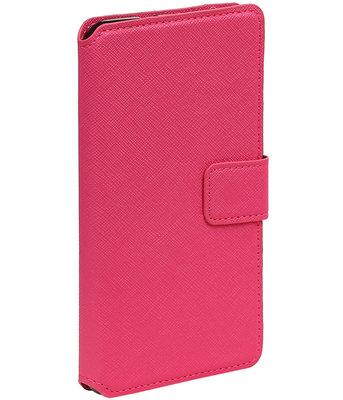 Roze Hoesje voor Motorola Moto G4 / G4 Plus TPU wallet case booktype HM Book