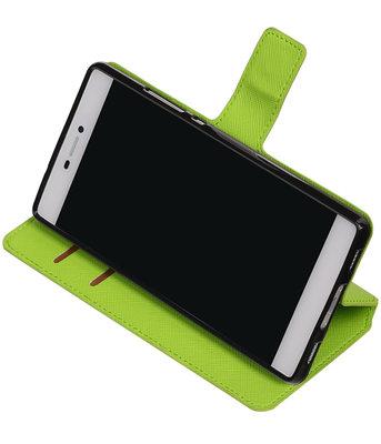 Groen Hoesje voor Huawei P8 TPU wallet case booktype HM Book
