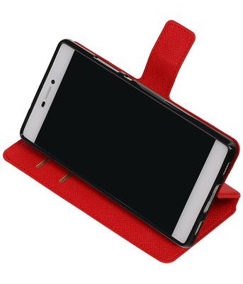 Rood Hoesje voor Huawei P8 TPU wallet case booktype HM Book