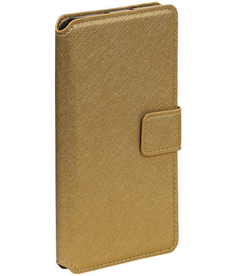 Goud Sony Xperia C6 TPU wallet case booktype hoesje HM Book