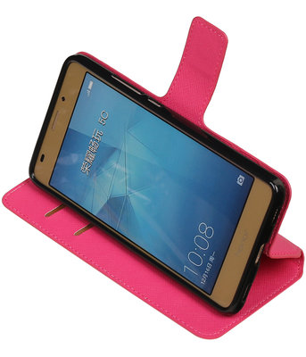 Roze Hoesje voor Huawei Honor 5c TPU wallet case booktype HM Book